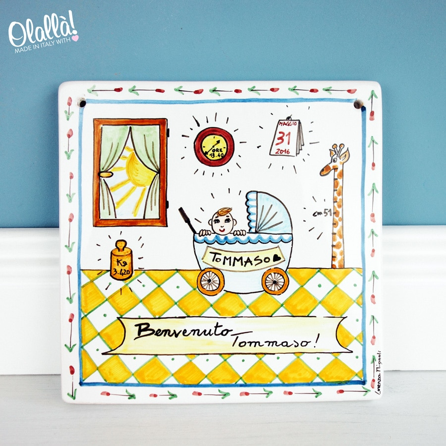 targa-ceramica-nascita-personalizzata-dipinta-mano