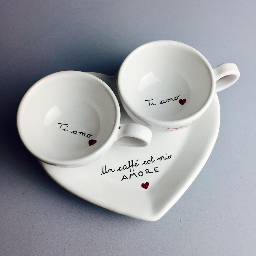 Tazze Da Te Personalizzate set da caffé o tè/cappuccino personalizzato lui e lei con il vostro  messaggio a scelta | olalla