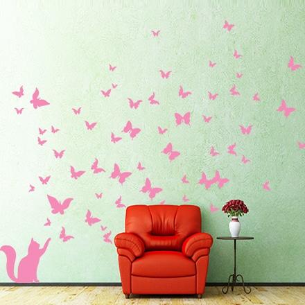 adesivi-murali_Farfalle-e-gatto_grande