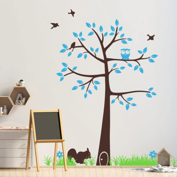 adesivo-murale-cameretta-albero-libreria-bosco