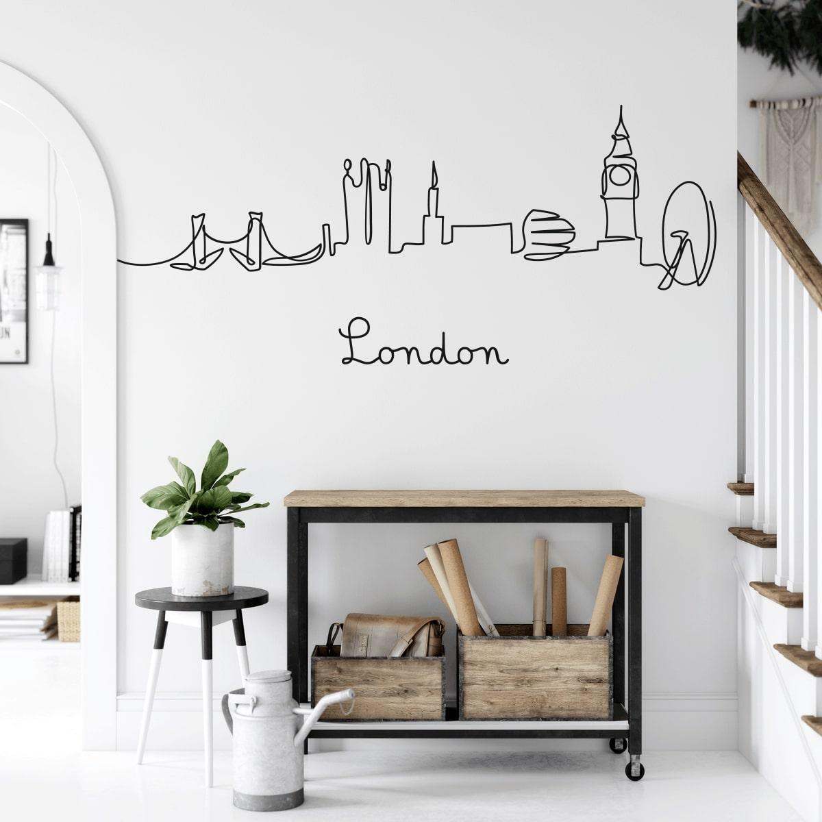 Adesivi Murali con Skyline Profili di Città