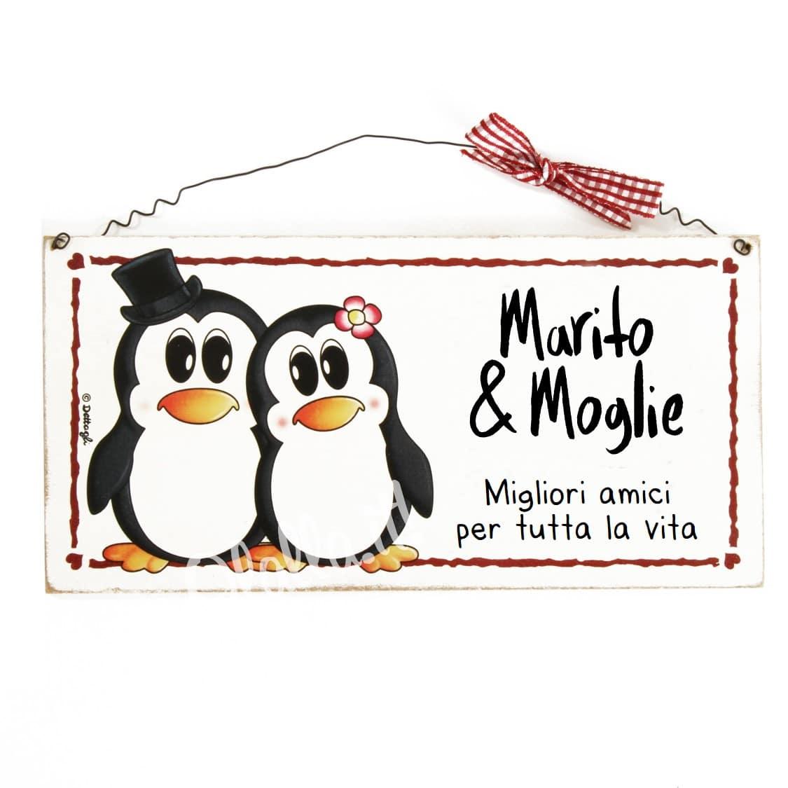 """Super Targhetta Personalizzabile Con Pinguini """"Marito e Moglie Migliori  BS52"""