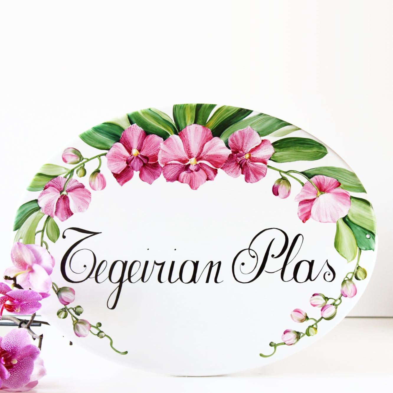 Targa Personalizzata con Nome e Numero Civico - Decoro Orchidee  Olalla