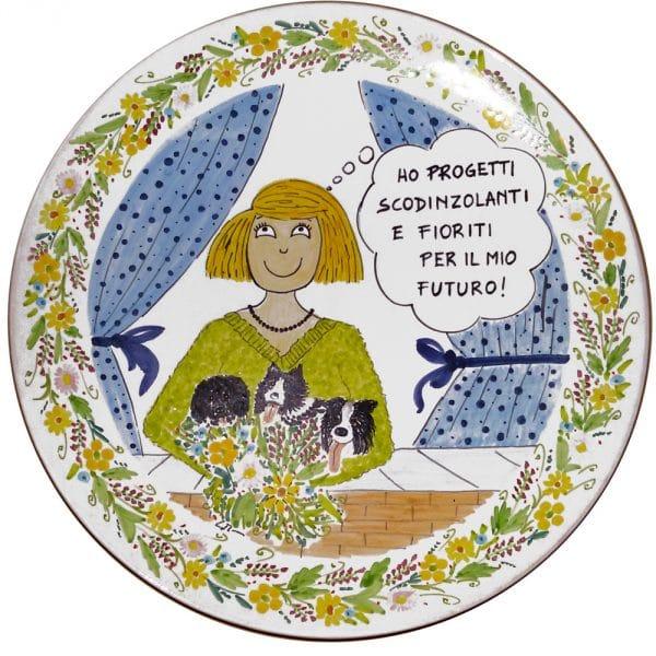 piatto in ceramica dipinto pensionamento