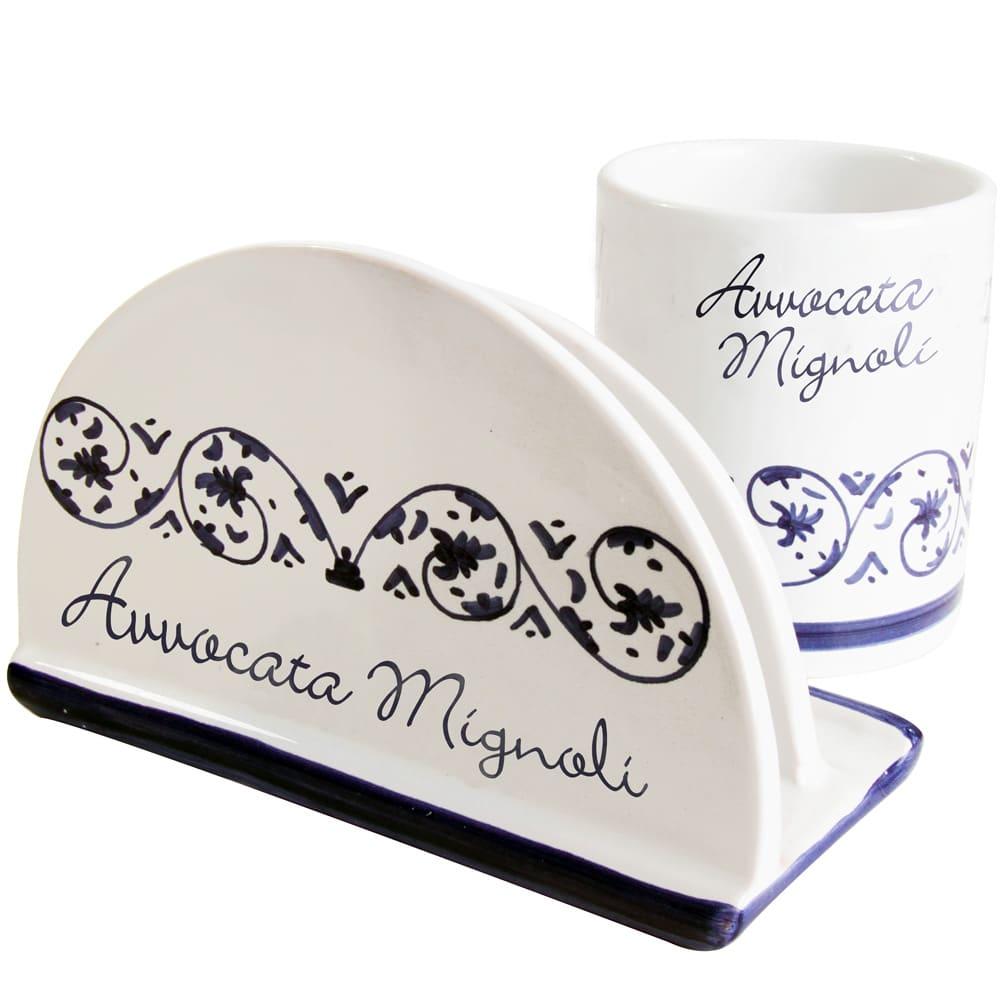 portadocumenti-portapenne-ceramica-dipinto-mano-personalizzato
