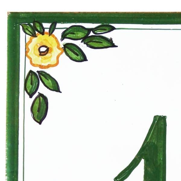 targa-numero-civico-bordo-verde-fiori-gialli2