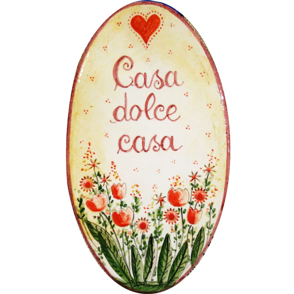 Targa in ceramica casa dolce casa ovale olalla for Casa dolce
