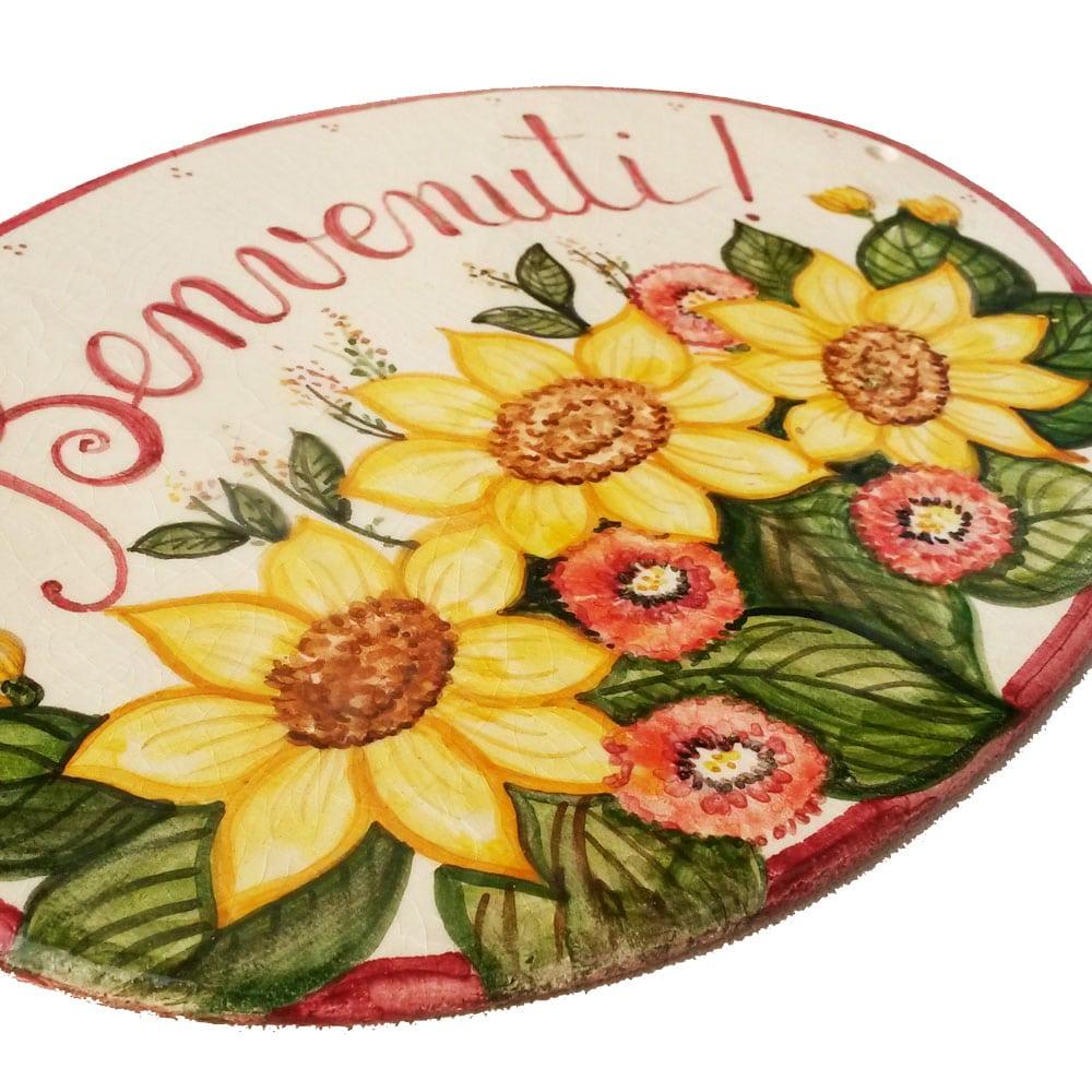 Segnaposto Matrimonio Con Girasoli : Targa in ceramica quot benvenuti decoro girasoli olalla