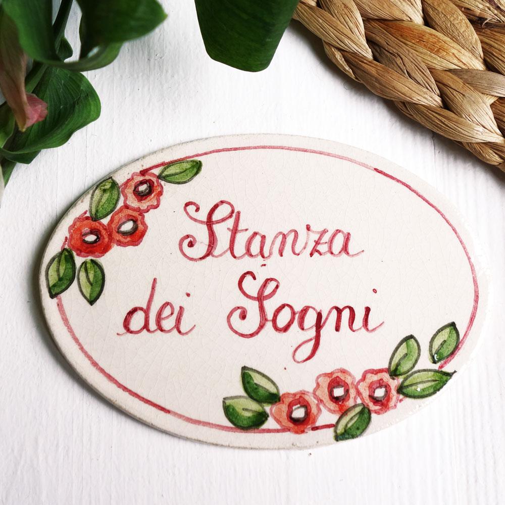 Targhette Per Porte In Ceramica.Targhetta Per Porte Con Decoro Fiorellini Rosa Olalla