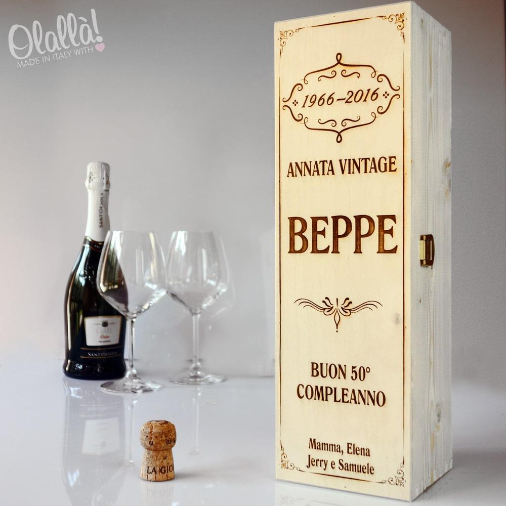 50 Anni Compleanno Mamma Regalo.Cassettina Porta Vino In Legno Personalizzata Idea Regalo 50