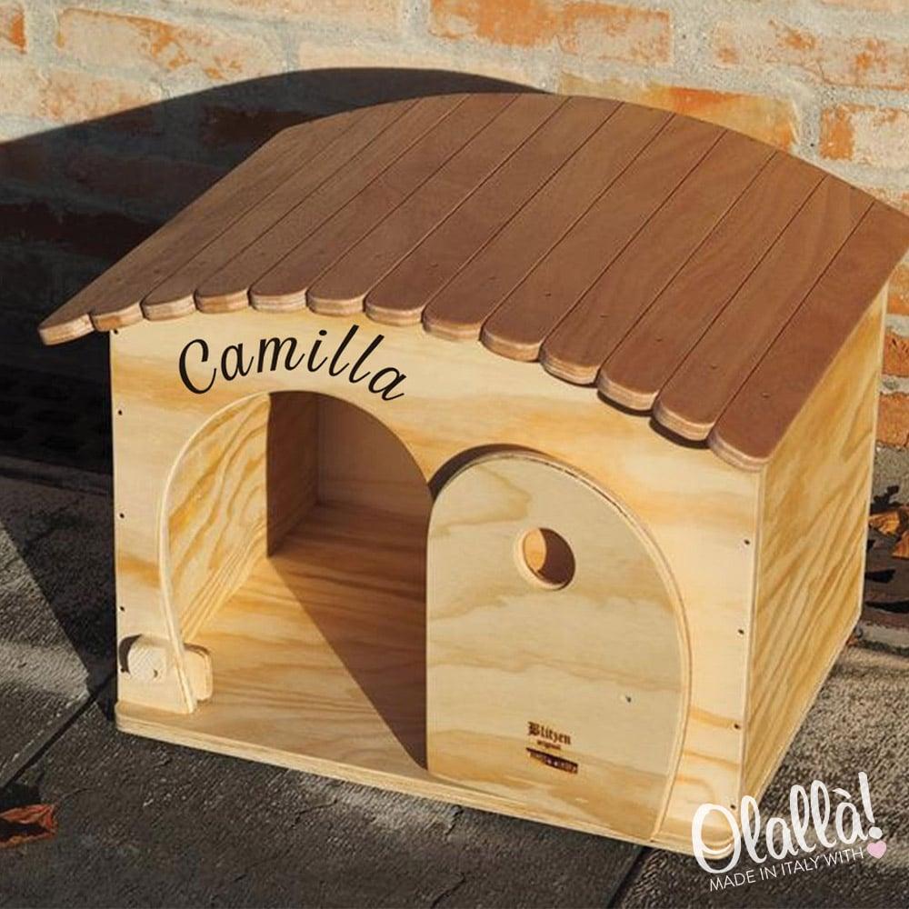 Cuccia di legno personalizzabile con il nome per gatti e for Cucce per gatti da esterno coibentate