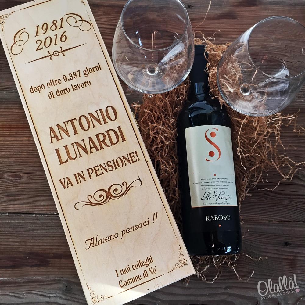 Cassettina Porta Vino in Legno Personalizzata Idea Regalo Pensionamento  Olalla
