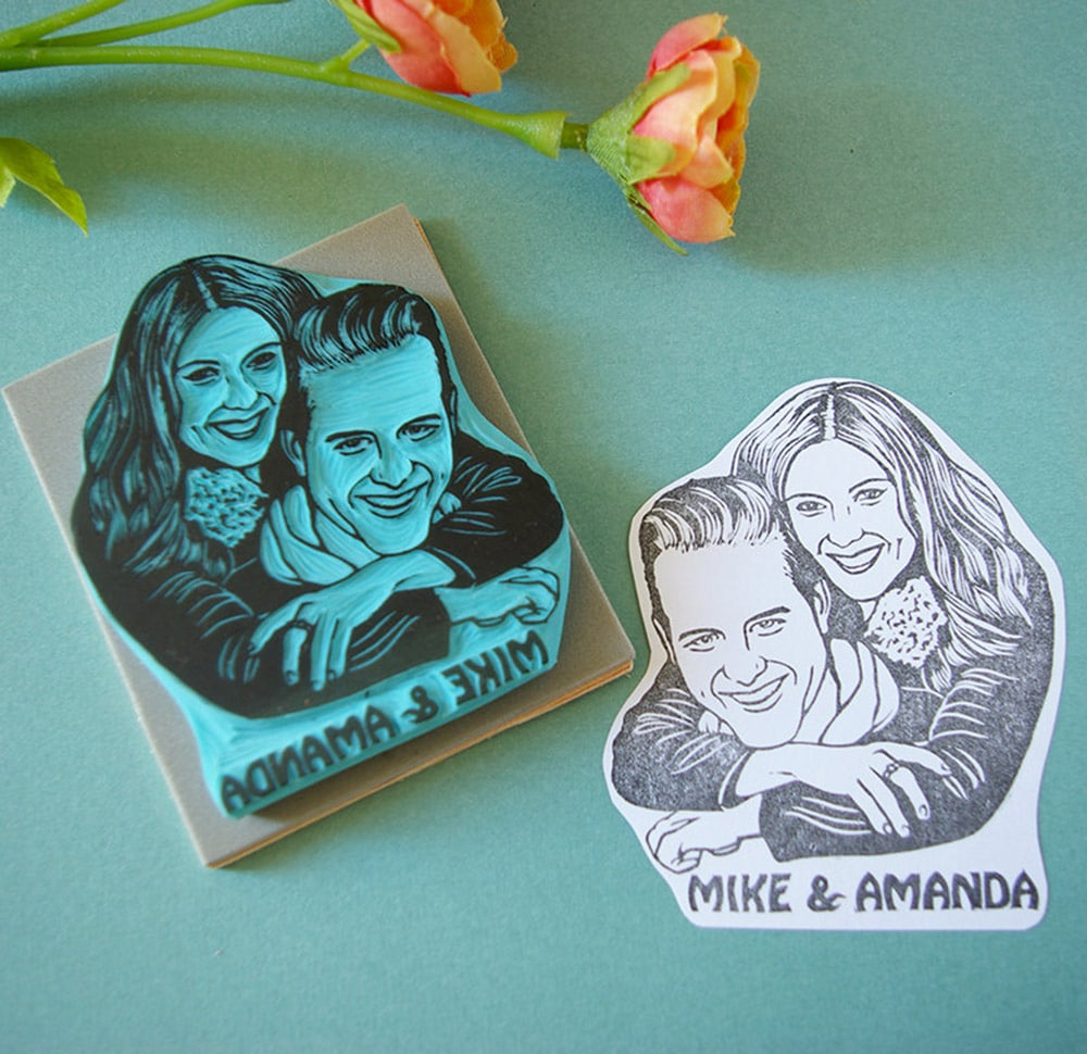 Timbri personalizzati matrimonio con ritratto coppia