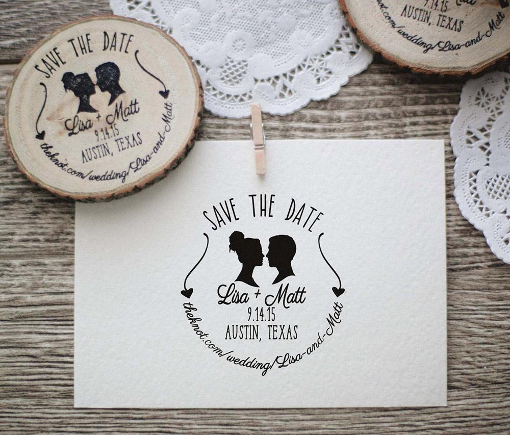 Timbro personalizzato matrimonio con silhouette e save the date