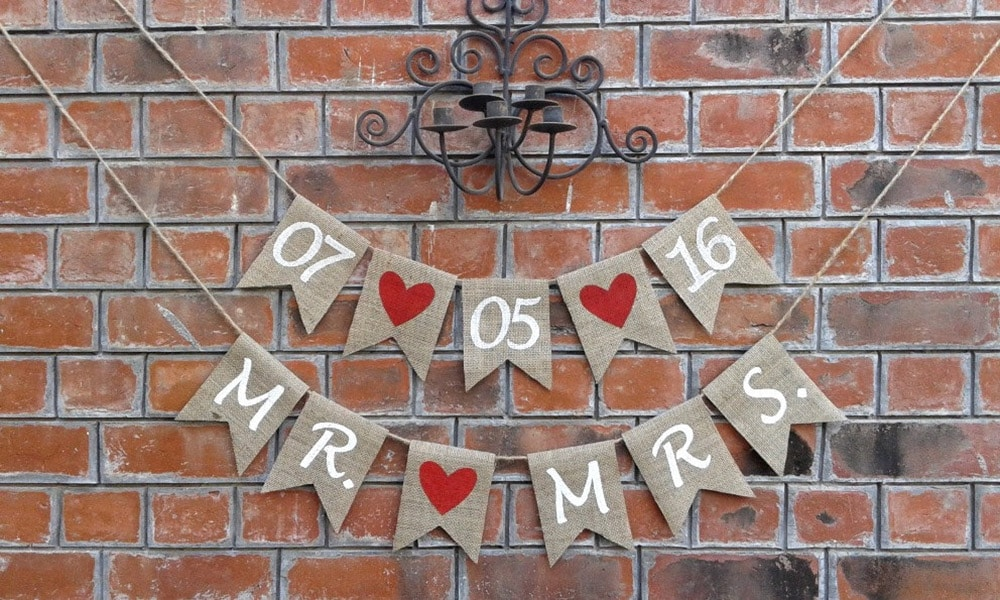 Festoni matrimonio bandierine data mr mrs