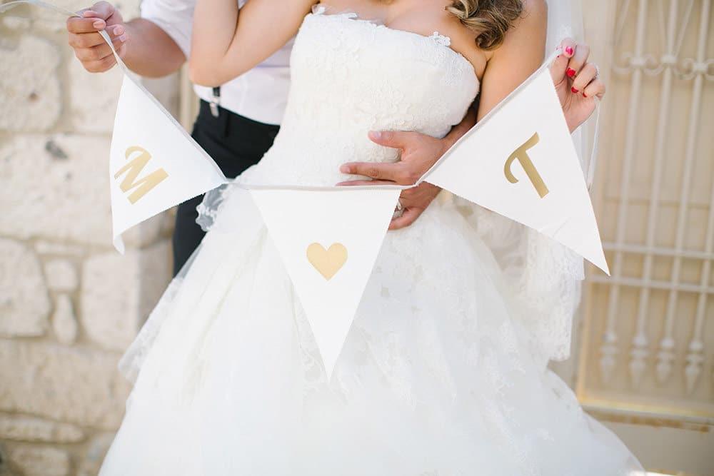 Festoni matrimonio con bandierine iniziali sposi