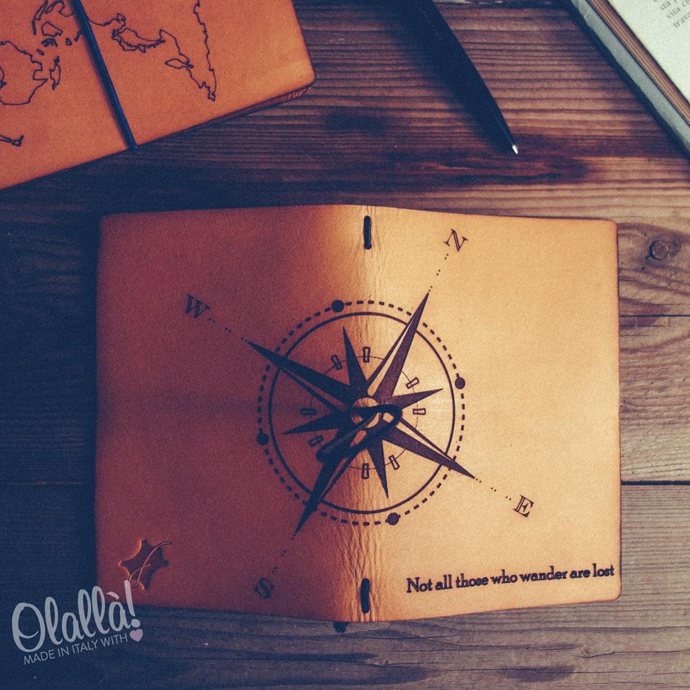 Quaderno travel journal in cuoio con disegno for Rosa dei venti disegno per bambini