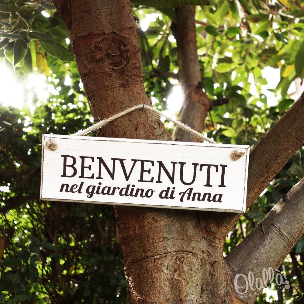 Targhetta in legno vintage personalizzata il giardino di - Il giardino di legno ...