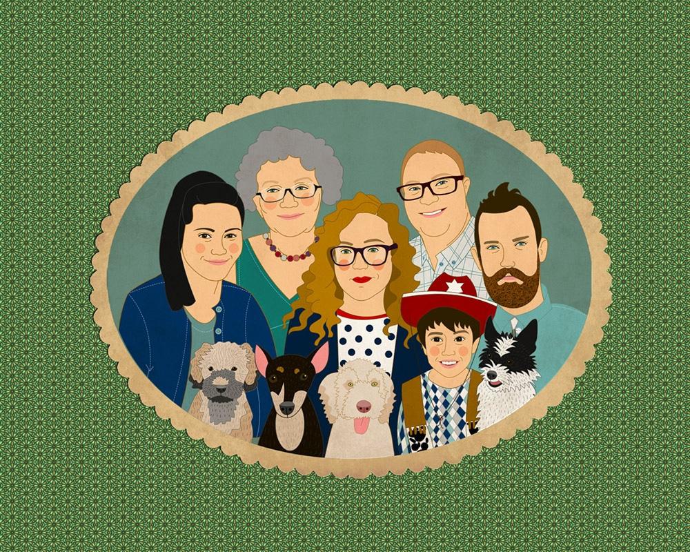 ritratti su commissione famiglia regalo natale