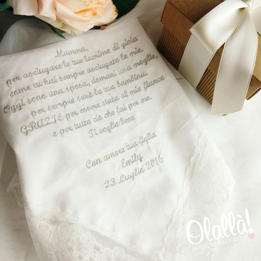 Auguri Matrimonio Alla Mamma Della Sposa : Fazzoletto della sposa idea regalo per la mamma
