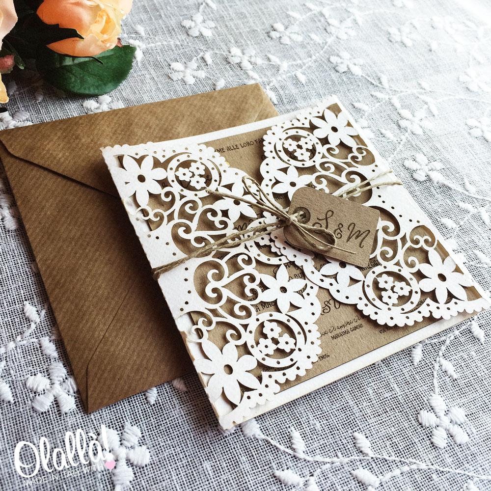 Partecipazioni Matrimonio Stile Rustico : Carta kraft partecipazioni vq pineglen