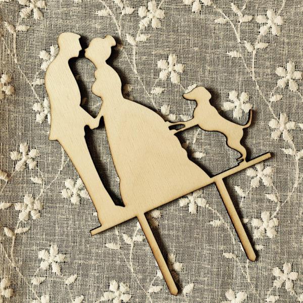 cake-topper-sposini-con-cane-legno-bronzato-fatto-mano