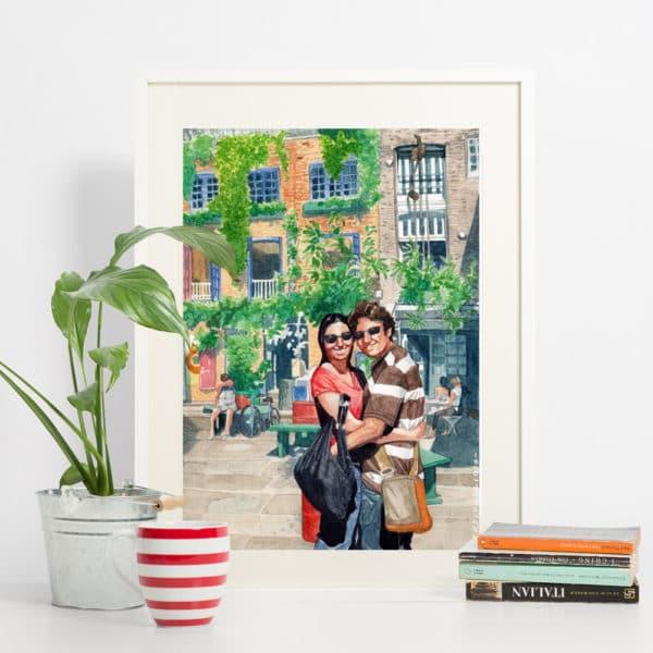 ritratto-personalizzato-coppia-luogo-acquerello
