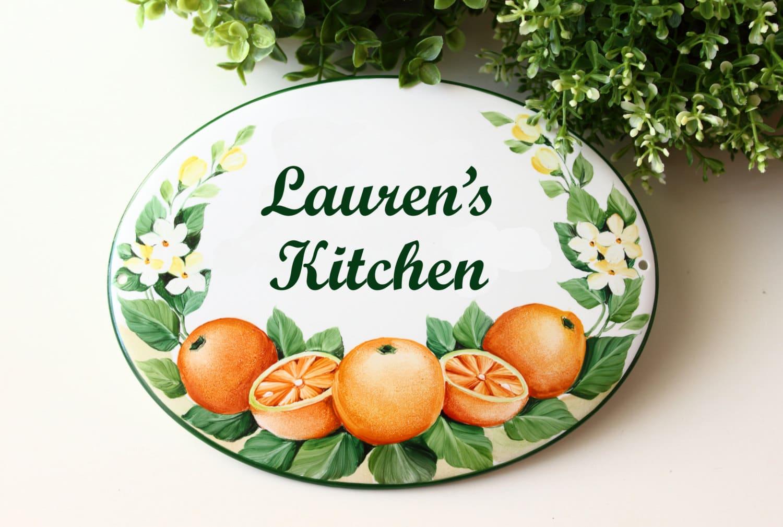 Targa per la cucina la cucina di in porcellana decoro fiori d 39 arancio olalla - Maniglie porcellana cucina ...