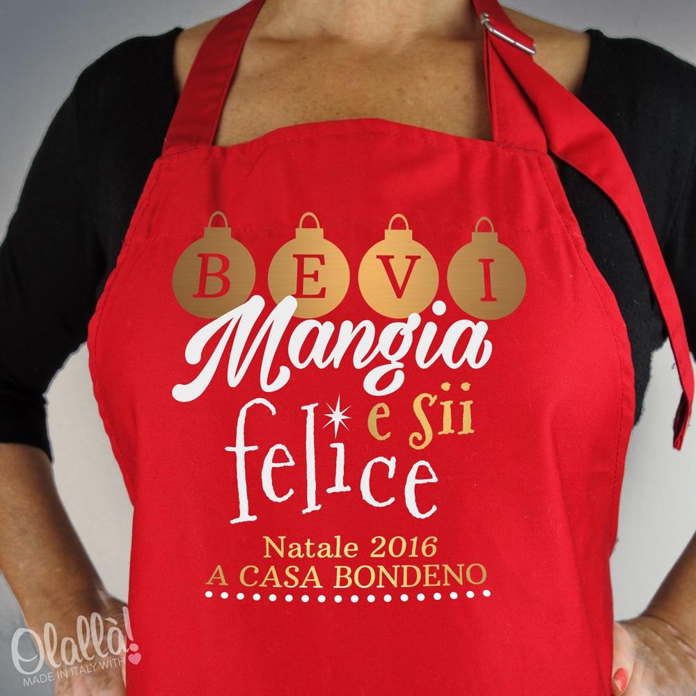 Grembiule parannanza personalizzato bevi mangia e sii felice natale a casa olalla - Grembiule cucina personalizzato ...