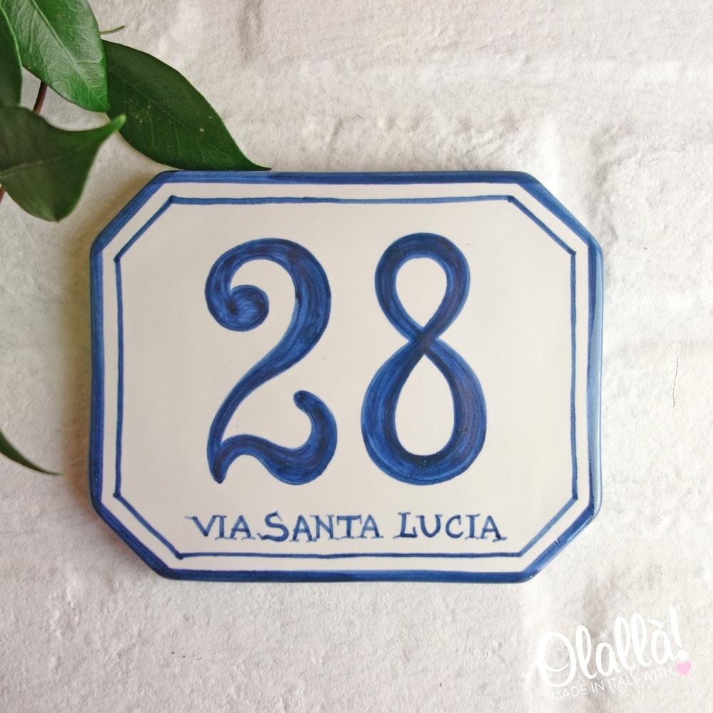 Numeri Civici In Ceramica.Numero Civico In Ceramica Ottagonale Semplice Dipinto A Mano Olalla