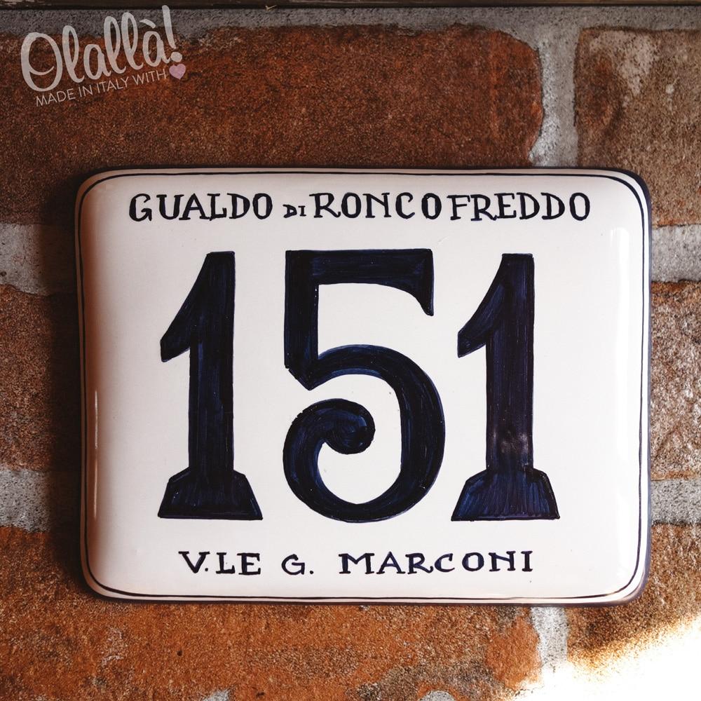 Numeri Civici In Ceramica.Numero Civico In Ceramica Rettangolare Semplice Dipinto A Mano Olalla