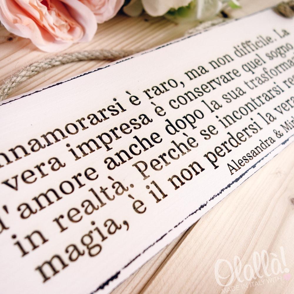 Popolare Targhetta in Legno Vintage Innamorarsi - Idea Regalo Matrimonio  IC65