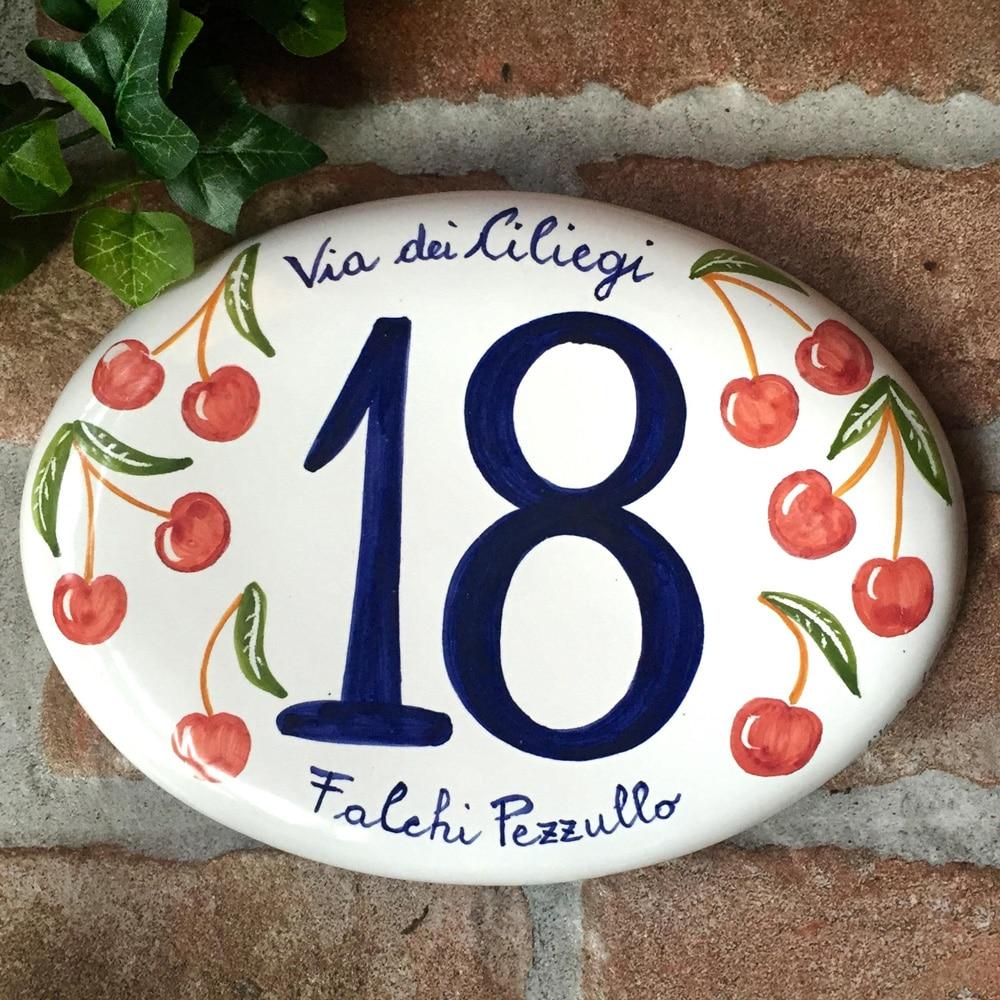 numero-civico-dipinto-mano-ciliegie-ovale-personalizzato