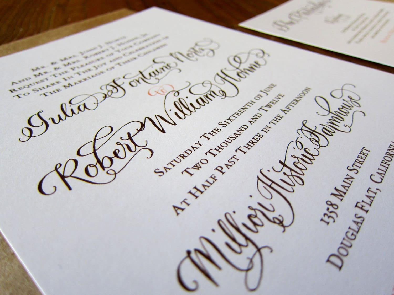 Partecipazioni Matrimonio Julia.Partecipazioni Di Matrimonio Scritte A Mano In Stile Calligrafico