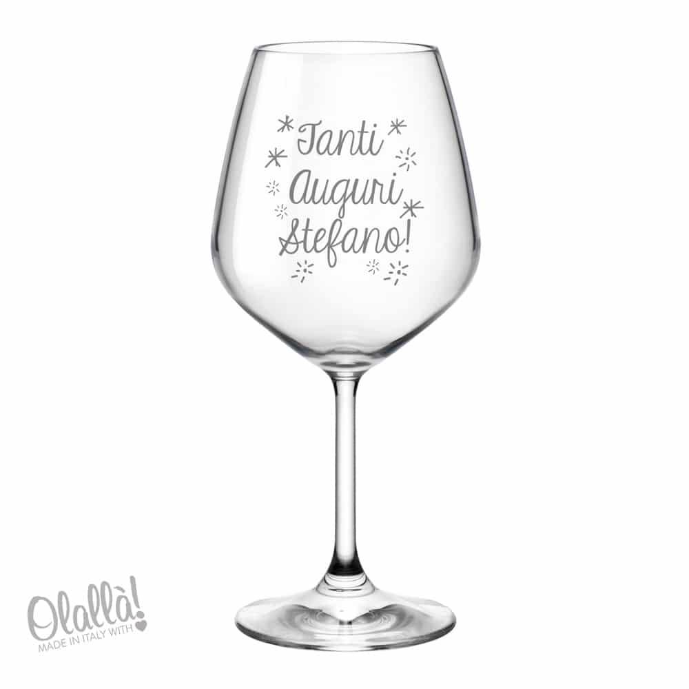 Bicchiere Personalizzato Tanti Auguri Idea Regalo Compleanno Olalla