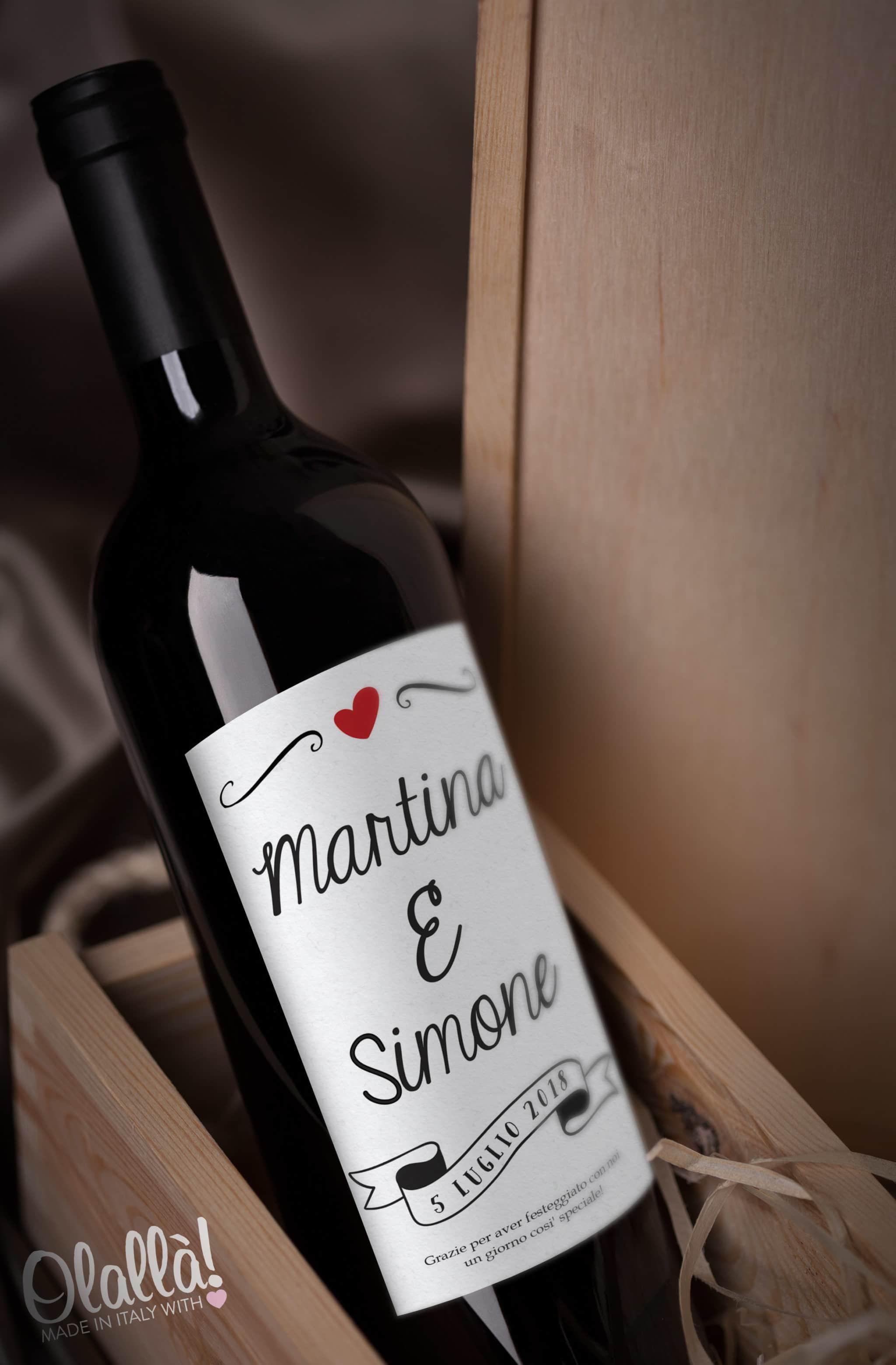 Fabuleux Bottiglia di Vino Personalizzata con Nomi e Banner con Data del  XK55