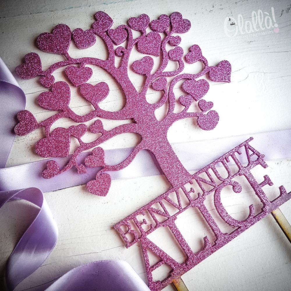 cake-topper-albero-vita-glitter-rosa