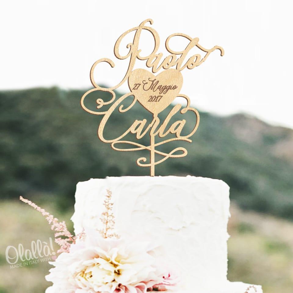 Cake topper personalizzato con nomi svolazzanti e cuore for Scritte in legno nomi