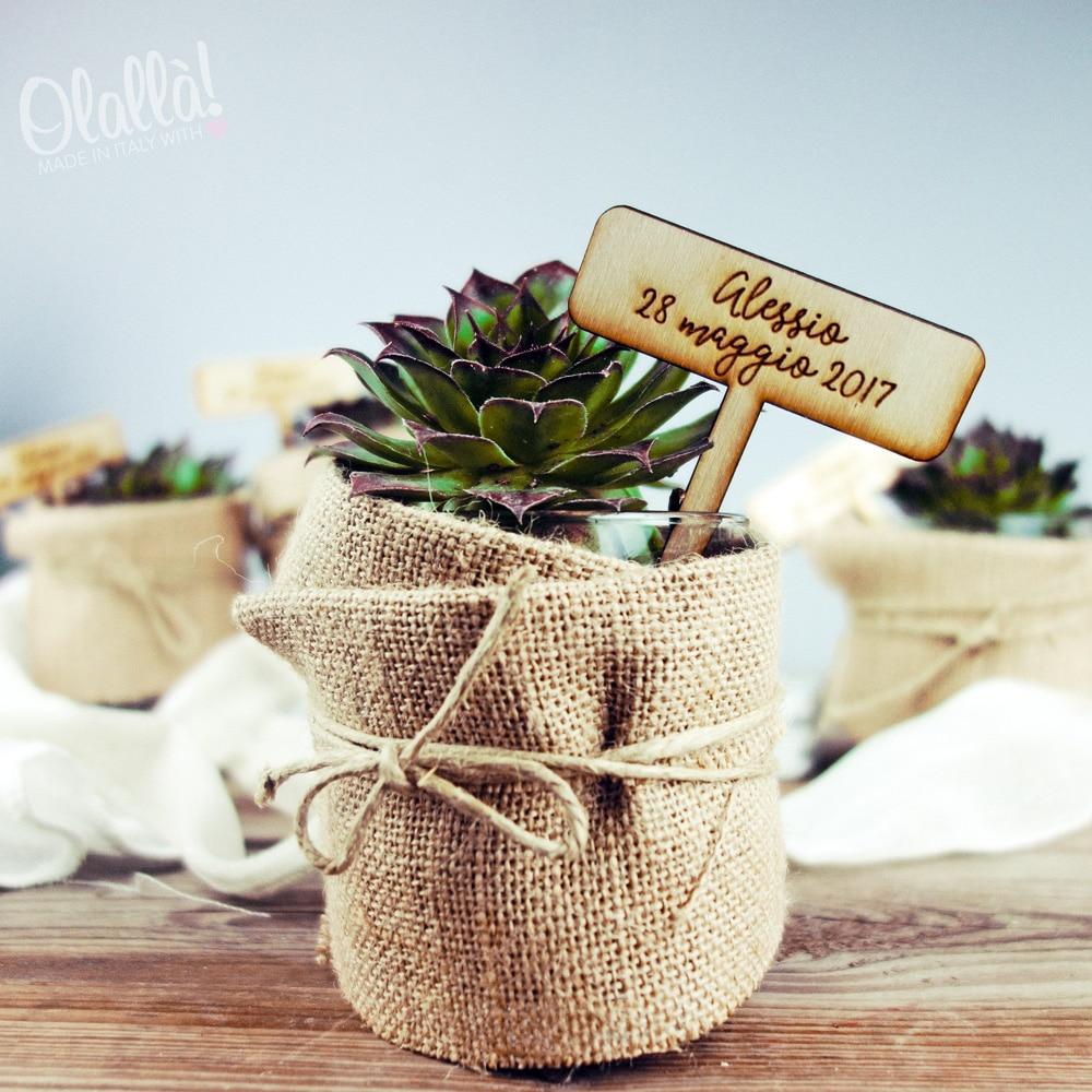 Etichette da piante in legno per bomboniere botaniche olalla - Porta piante aromatiche ...