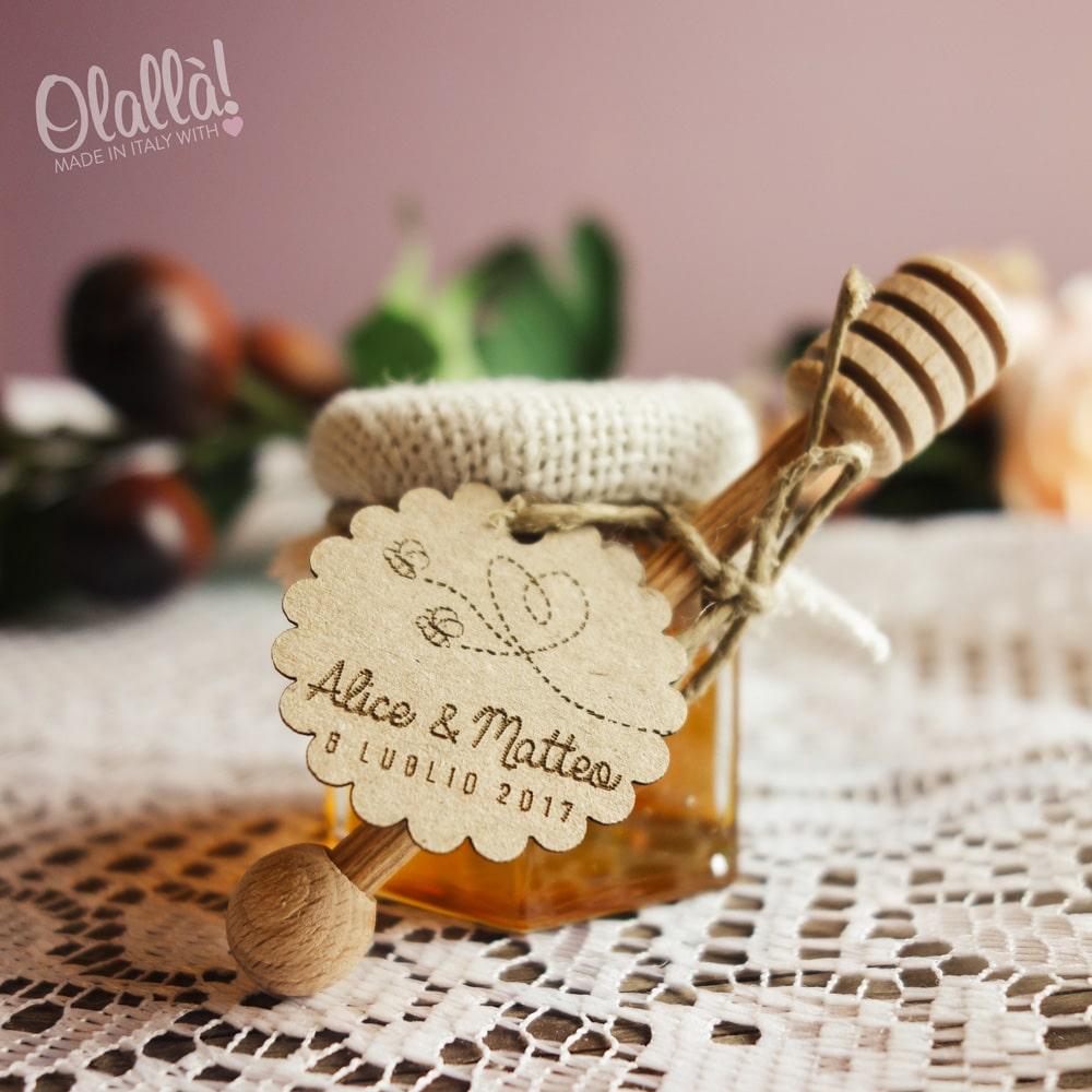 Famoso Bomboniere Vasetti di Miele Stile Country con Juta Avorio | Olalla RQ18