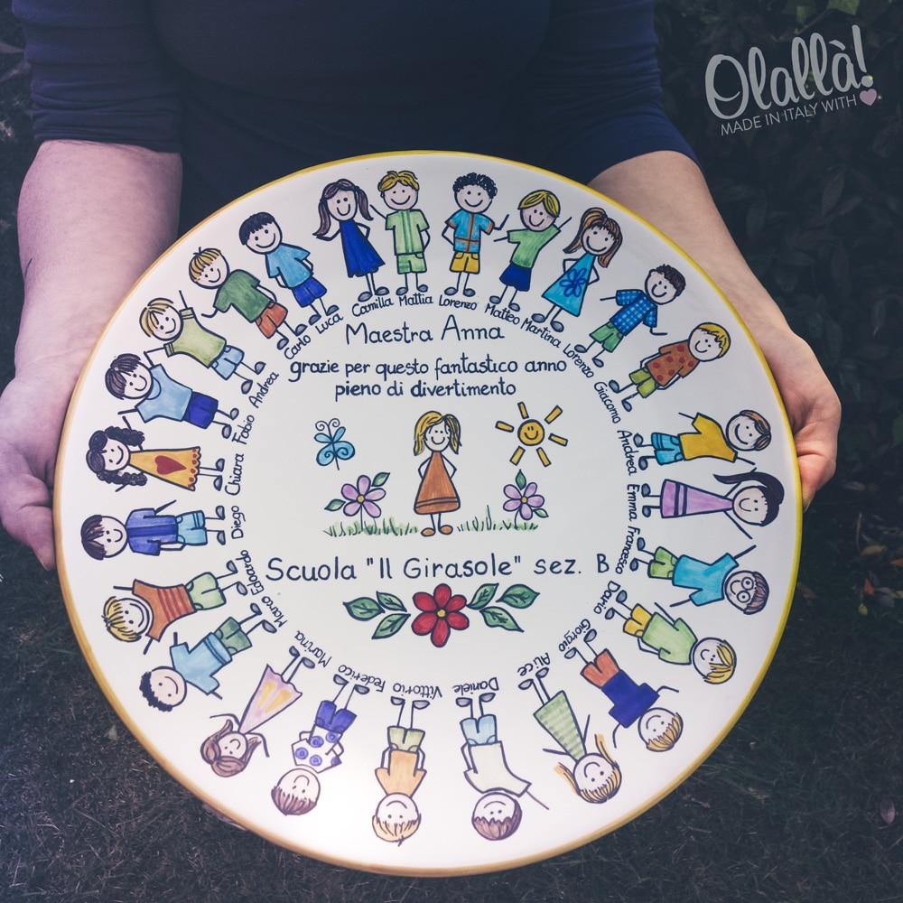 Piatto in ceramica idea regalo insegnante con ritratto di for Idea per regalo