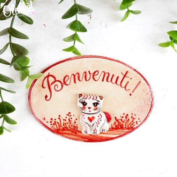 targa-in-ceramica-benvenuti-decoro-gatto