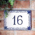 numero-civico-decoro-blu-foglie-personalizzato