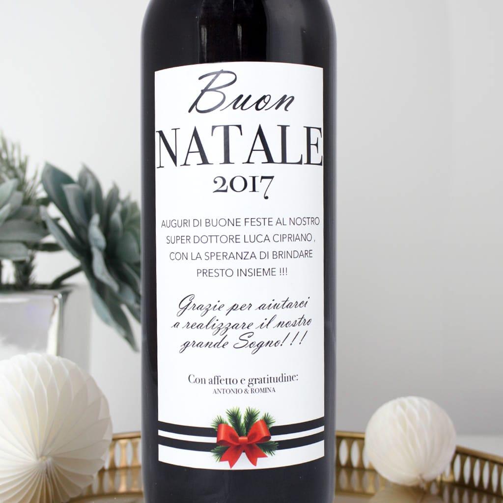 Auguri Di Natale Per Un Dottore.Bottiglia Di Vino Personalizzata Buon Natale Con Dedica Olalla