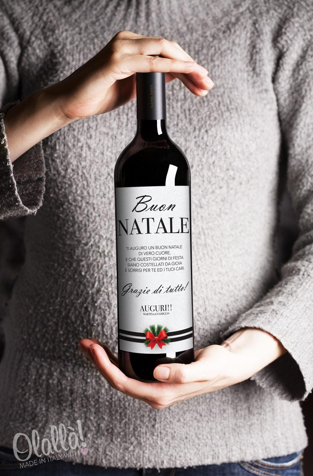 Auguri Matrimonio Vino : Bottiglia di vino personalizzata buon natale con dedica