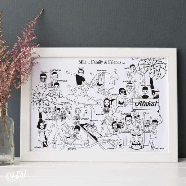 ritratto-personalizzato-gruppo-caricatura