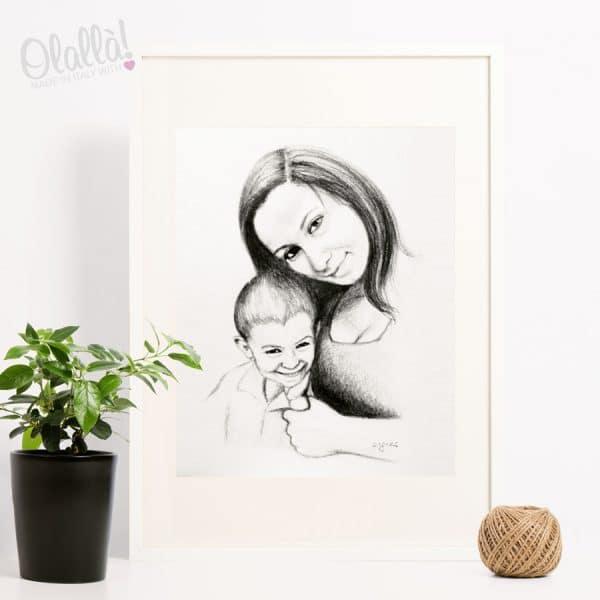 ritratto-personalizzato-mamma-bambino-matita-carboncino