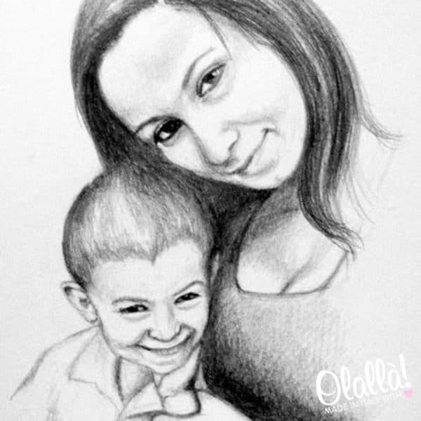 ritratto-personalizzato-mamma-bambino-matita-carboncino2