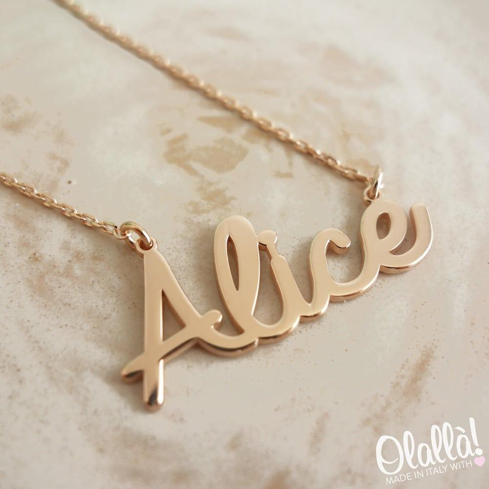 vendita a basso prezzo nuovi stili all'ingrosso online Collana con Nome in Argento 925 Personalizzata per Lei   Olalla
