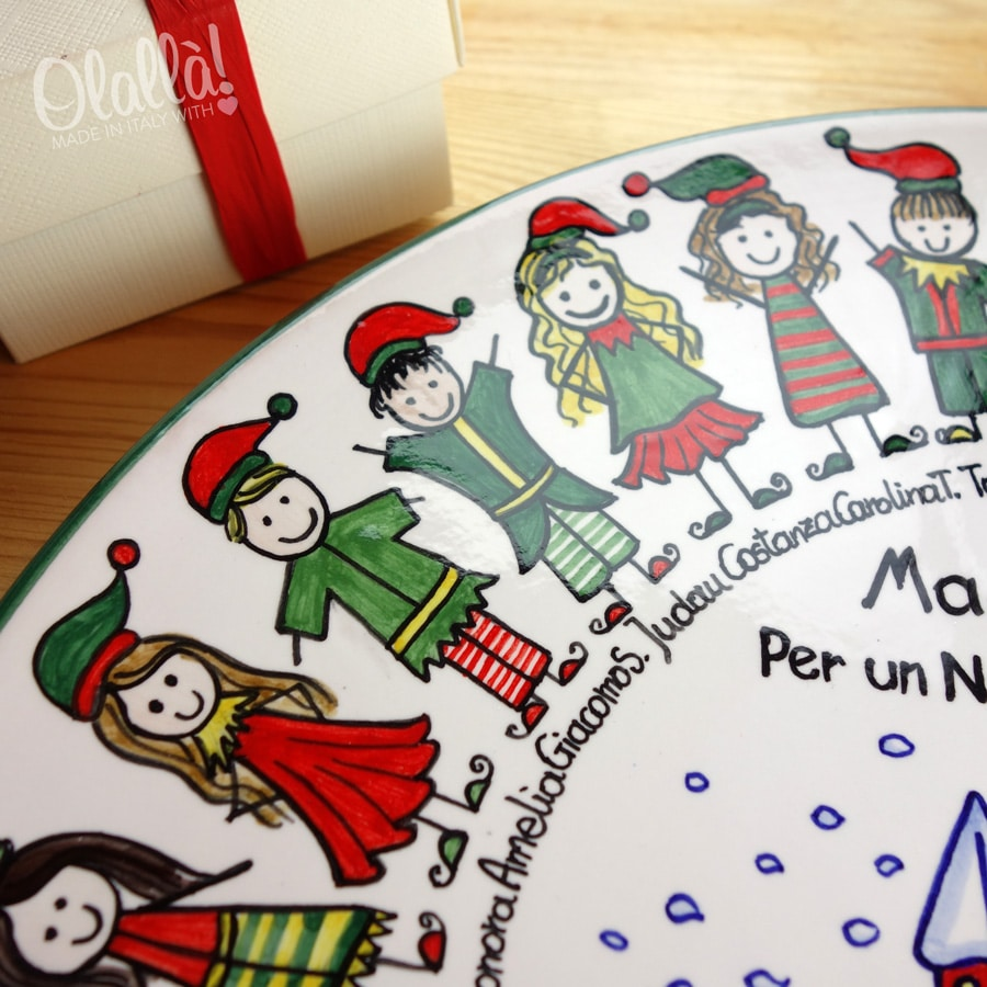 Piatto in Ceramica Idea Regalo di Natale Ritratto di Classe e